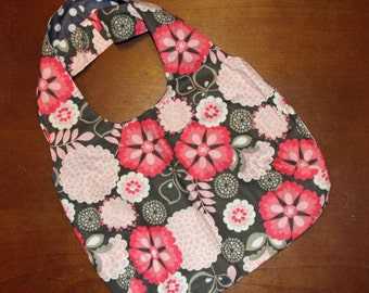Tote Bag - Flower Print with Grey Dot Lining