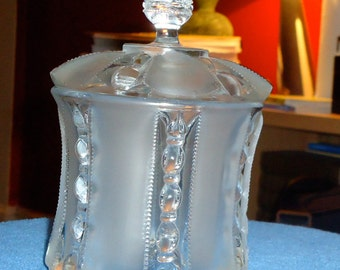 Circa 1870 – 1875 Early American Pressed and Frosted Glass Covered Sugar Bowl