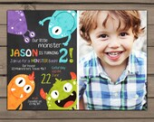 Monster birthday invitation Monster party invitation Monster Bash Monster invitation Chalkboard Boy or girl Digital printable ANY AGE