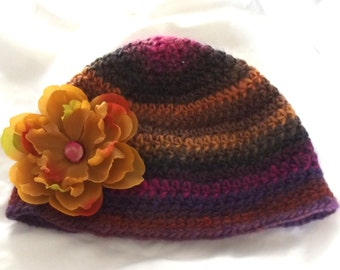 Crochet Wool Hat Ladies Teens Orange Brown Purple Winter Outdoor Activities Cap Ski Removeable Silk Flower Brooch