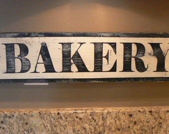 Bakery Sign (black), distressed, antique look, kitchen decor