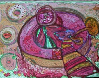 Donut Drawing abstract food painting Whimsical Quirky pink patterns cake bright colourful wall art - Psychedelic trippy kitchen decor