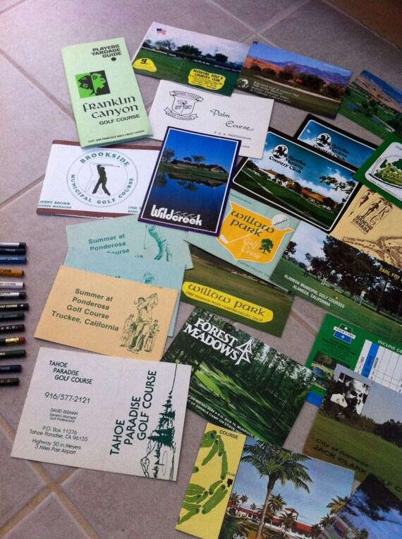 California Golf Score Papers Pencils Postcards Vintage
