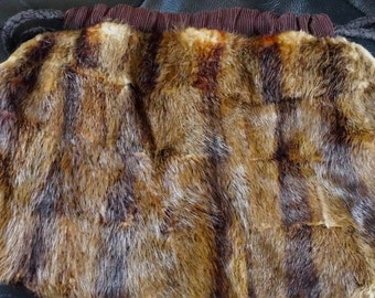Vintage mink fur/leather handbag and muff with feather down insulation