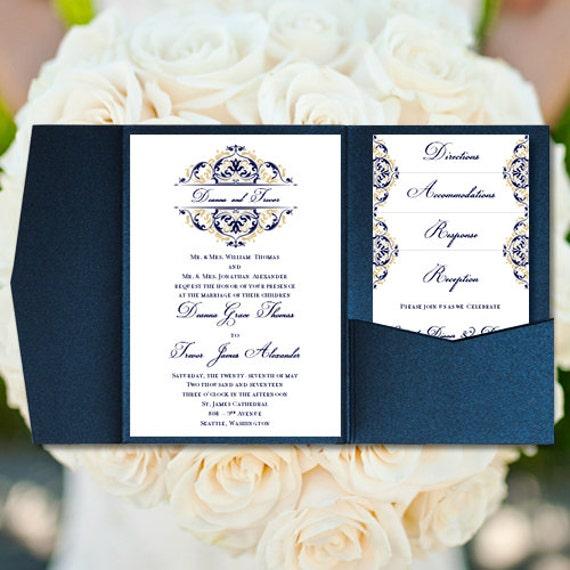 Pocket Folder Wedding Invitation Kits: Pocket Fold Wedding Invitations Grace Navy Blue
