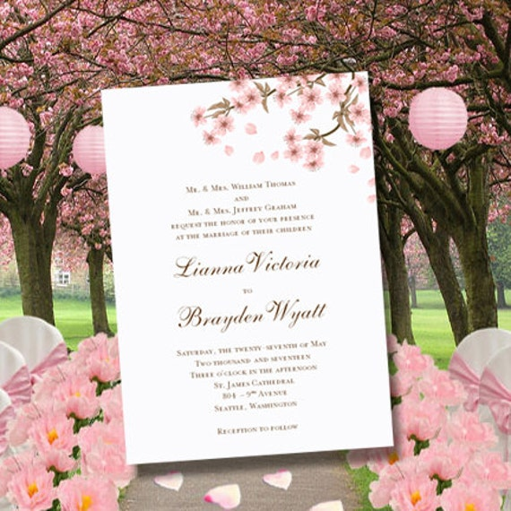 cherry blossom printable wedding invitations editable word.doc, Wedding invitations