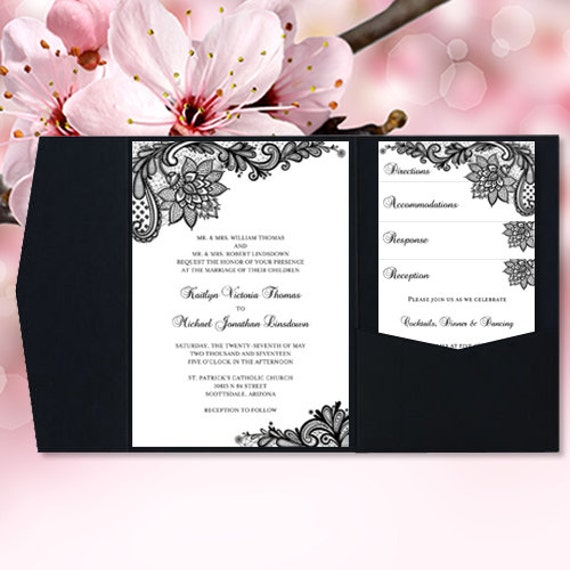 Pocket fold wedding invitations vintage lace black for Making pocket wedding invitations