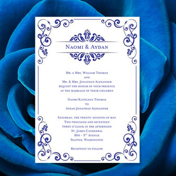 Wedding Invitation Template Julia Royal Blue