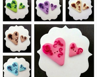 Heart buttons - polymer clay