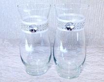 Wedding Vases Custom Set of 2 Rhinestone Centerpiece Choose Your Color Bouquet Vase Bridal Shower Rhinestone Centerpiece Crystal Vase