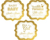 Pink and Gold Baby Shower Labels - Its a Girl Baby Shower Stickers - Girl Baby Shower Labels (EB3020FB) set of 24|