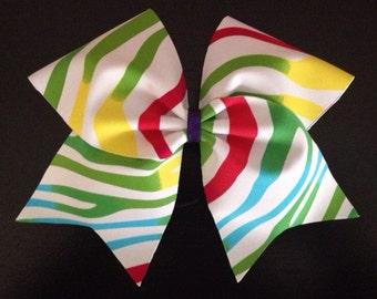 Rainbow Zebra Print Cheer Bow