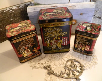 Set of 3 Vintage Chinese Tea Tins Canisters
