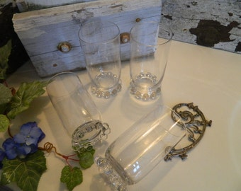 Set of 4 Vintage Imperial Glass Co. Clear Candlewick Glass Beaded Glass Footed Ice Tea Glasses