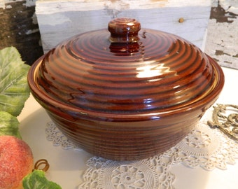 Vintage Brown Glazed Earthenware Pottery Casserole