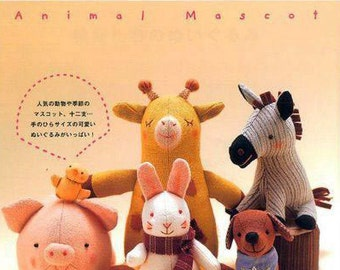 Japanese WakuWaku Animal Land Adorable Mascot Toys Felt Craft Sewing Pattern Book Instant Download PDF Stuffed Animals