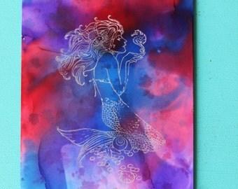 TIEDYE MERMAID hand painted print