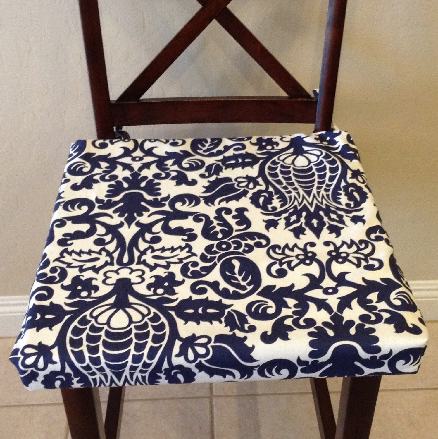 indigo navy blue white chair cushion cover by brittaleighdesigns