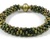 RESERVED Beaded kumihimo bracelet/beaded bracelet/beaded jewelry/AA quality Petrified Wood Beaded Bracelet//braided bracelet/kumihimo cuff