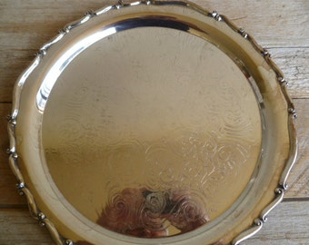 Beautiful Rogers Silver Plated Round Serving Tray