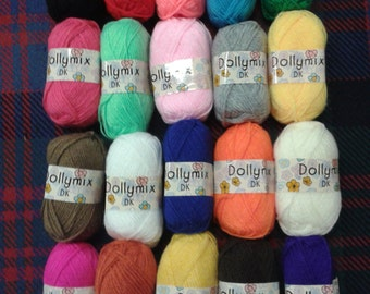 King Cole Dollymix DK Toy and Craft Double Knitting Yarn - Variety Pack of 20 x 25g Balls