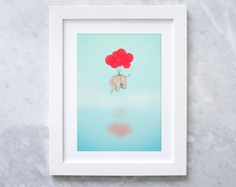 Elephant and Balloons Art Print - Handmade Illustration Cute Elephant with Balloons