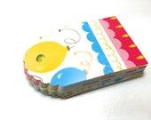 Gift Tags 24 happy birthday balloon print design sized at 1 1/2 x 2 1/2