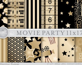 "VINTAGE MOVIE PARTY Digital Paper 11"" x 17"" Patterns Print, Instant Download, Cinema Theme Paper Pack Pattern Prints Scrapbook Print Palette"