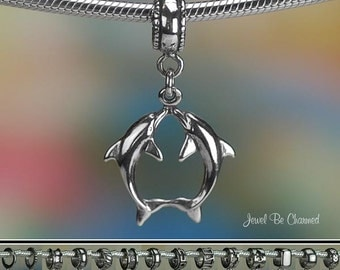 Kissing Dolphins Charm or European Charm Bracelet .925 Sterling Silver