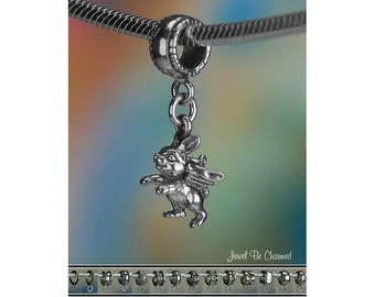 Angel Rabbit Charm or European Style Charm Bracelet Sterling Silver