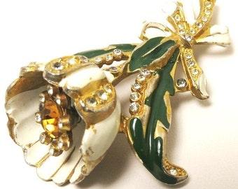 Enamel Trembler Brooch - Vintage, Adolph Katz (Coro), Gold Tone, Rhinestones and Enamel, Floral Pin
