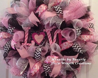 "Black and Pink Valentine's Day ""Love"" Wreath"