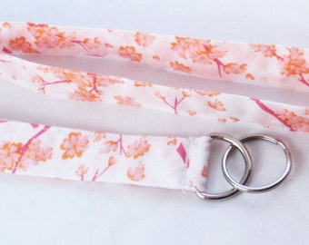 Fabric Lanyard - White background with pink and orange floral design
