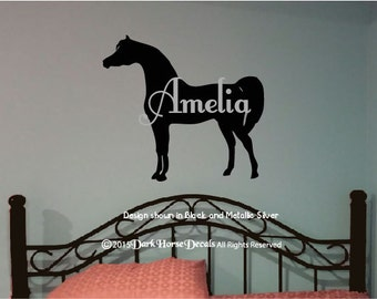 Arabian Horse Personalized Girl's Room Wall Decal