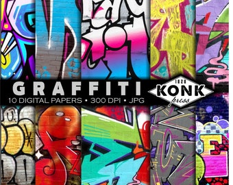 10 Digital Scrapbook Papers Graffiti Art, JPG, 300 dpi, 12x12 inch