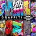 10 Digital Scrapbook Papers Graffiti Art, JPG, 300 dpi, 12x12 inch