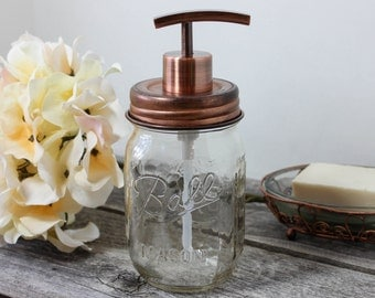 Mason Jar Soap Dispenser with Antique Copper Modern Pump, Rust Resistant Canning Jar Soap Lotion Dispenser, Clear Ball Mason Jar