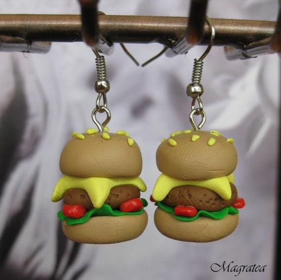 Handmade Miniature argila Hamburger Charme Brincos Fimo Polymer Miniature Food