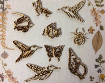 Creatures 3 Lasered Wooden Craft Embellishments