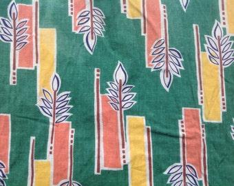 Vintage 50s green peach yellow geometric cotton print fabric