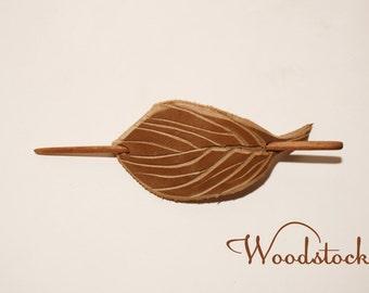 Leather stick barrette , handcarved , hair barrette , hair clip , hair pin , hair stick , leaf barrette