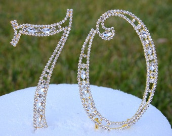 "New 5"" Gold Rhinestone Number Seventy 70 Cake Topper 70th Birthday Parties Free US Shipping CT701"
