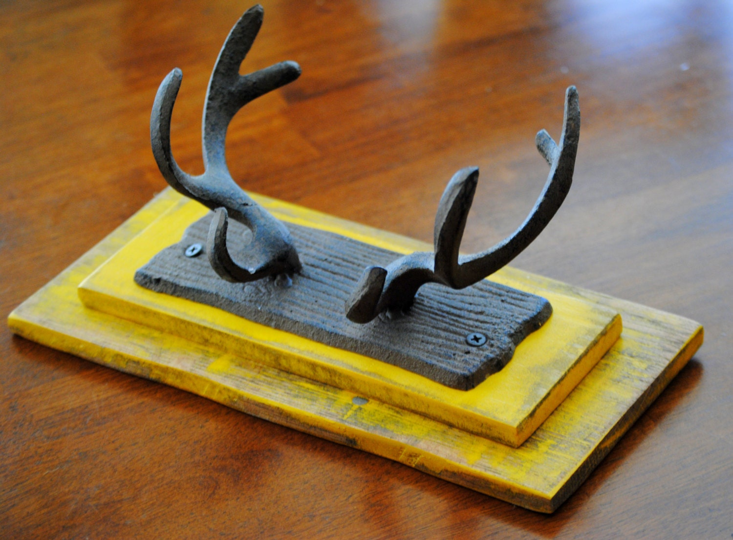 Wall hooks antler decor wall organizer handcrafted from - Antler key rack ...