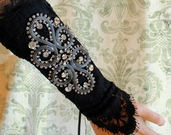 Dark Retro Wrist Cuff,Gothic Black Lace Wrist Cuff with Rhinestones,Burlesque, 20's-Ready to Ship