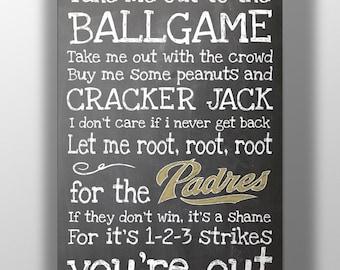 San Diego Padres- Take Me Out to the Ballgame Chalkboard Print