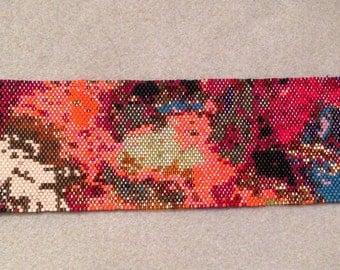 Peyote Beaded Cuff Bracelet Orange Abstract    0015