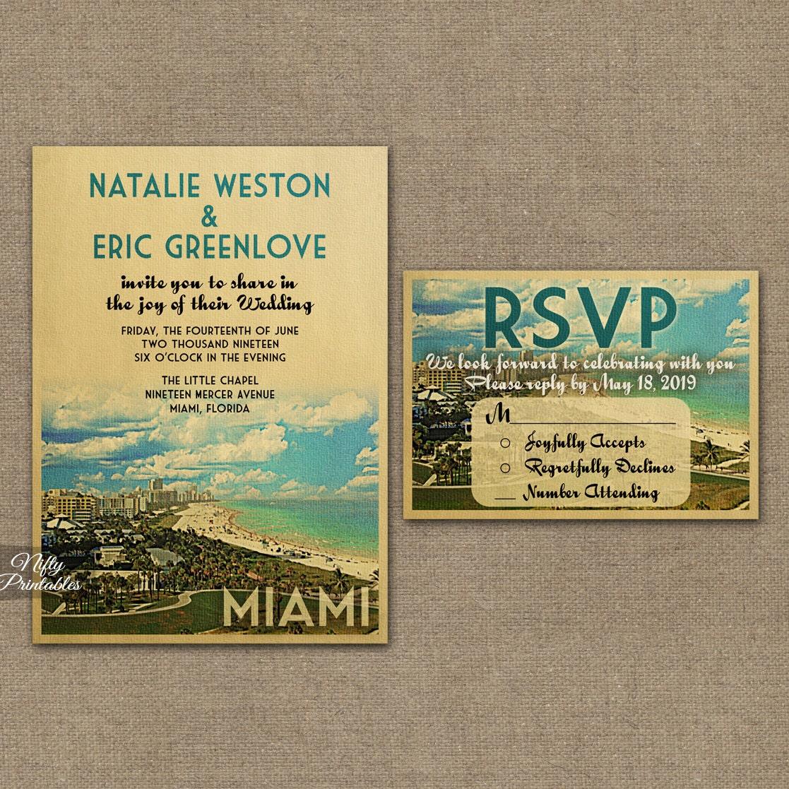 miami wedding invitation printable vintage miami florida, Wedding invitations
