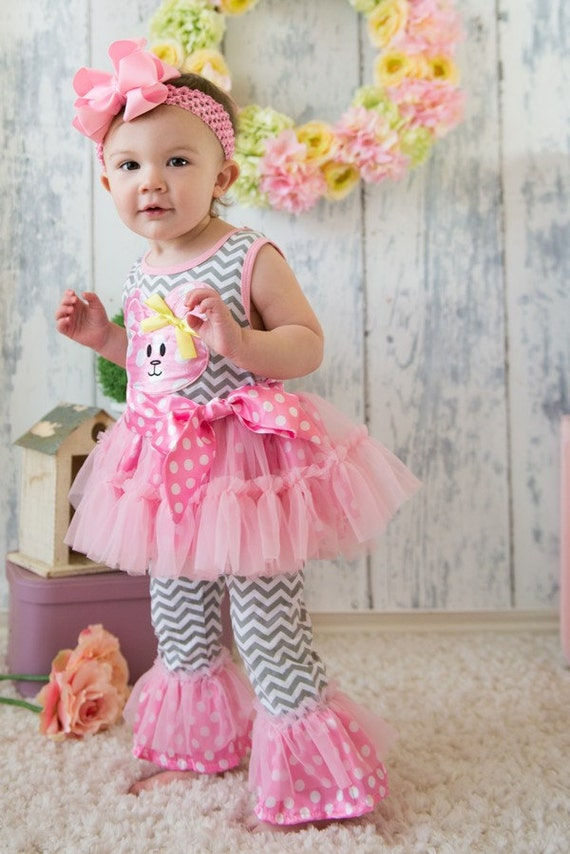 Girls Summer Outfits Cute 4pc Pink And Grey By Tutusweetshop