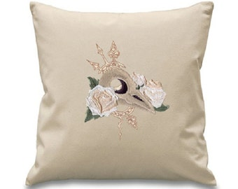 Steampunk Clockwork Bird Embroidered Canvas Cushion Cover