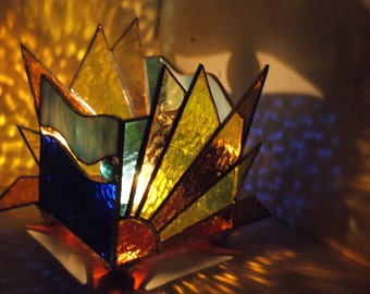Sunrise - Votive Candle Holder - Stained Glass